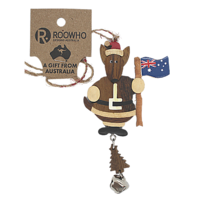XMAS ROO ORNAMENT AUST FLAG AND BELL