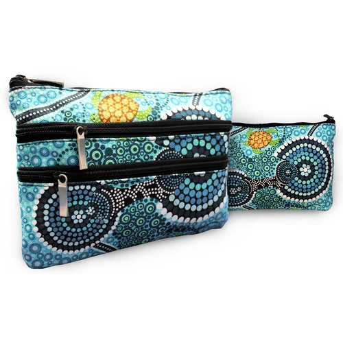 COTTON CANVAS COSMETIC BAG, 3 ZIP COLIN JONES COLOURS OF THE REEF